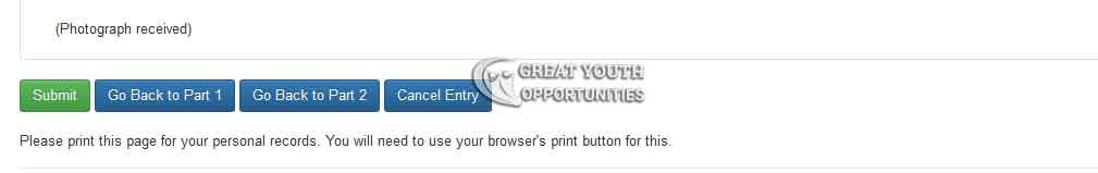 Electronic Diversity Visa Entry Form verification page